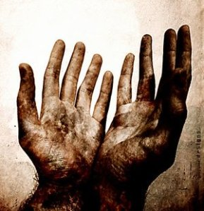 nail-scarred hands